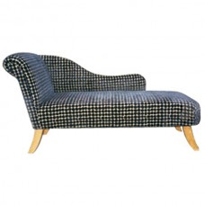 Large Left Hand Chaise in Black and White on Splayed legs