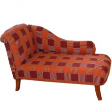 Left hand large chaise lounge in rust textured fabric