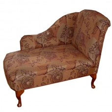 Small Chaise Longue Chair in Floral Chenille Fabric
