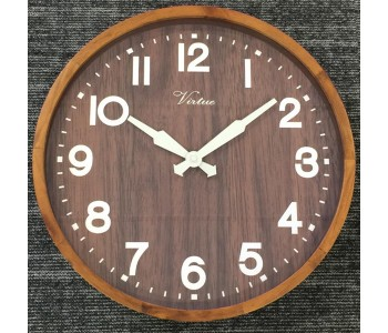 Industrial Wood And Glass Wall Clock