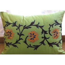 Zeba Green Rust Embroidered Cushion