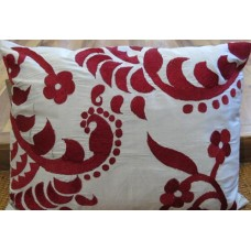 Zeba Silver Grey Maroon Embroidered Cushion
