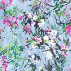 Faience Cornflower contemporary floral print fabric