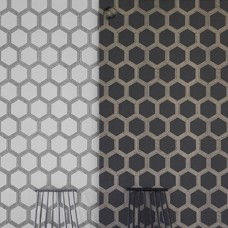 Zardozi hexagona shape and linear print wallpaper