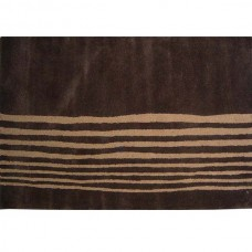 BAMBOO DARK BROWN STRIPED WOOL RUG