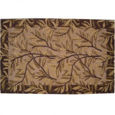 BORDER LEAVES WOOL RUG