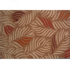 FANTACY BEIGE MAROON CONTEMPORARY WOOL RUG